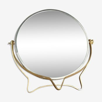 Miroir triptyque ancien 63 x 45 cm verre et cristal transparent classique 46pmbbr for Miroir loupe