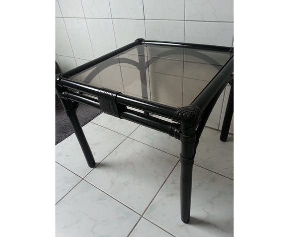 Table basse vintage - verre fumé
