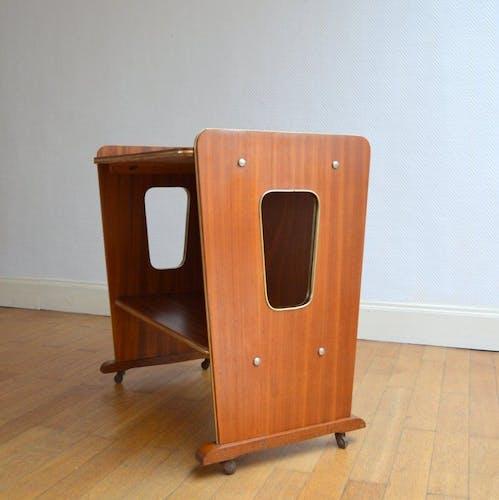 Table d'appoint sur roulettes 1950 vintage