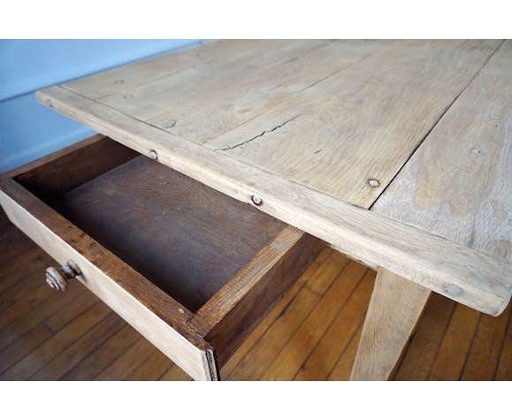 Table de ferme en chêne avec 1 tiroir