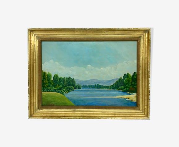 Tableau paysage au lac signé a Bailloud  années 50/70