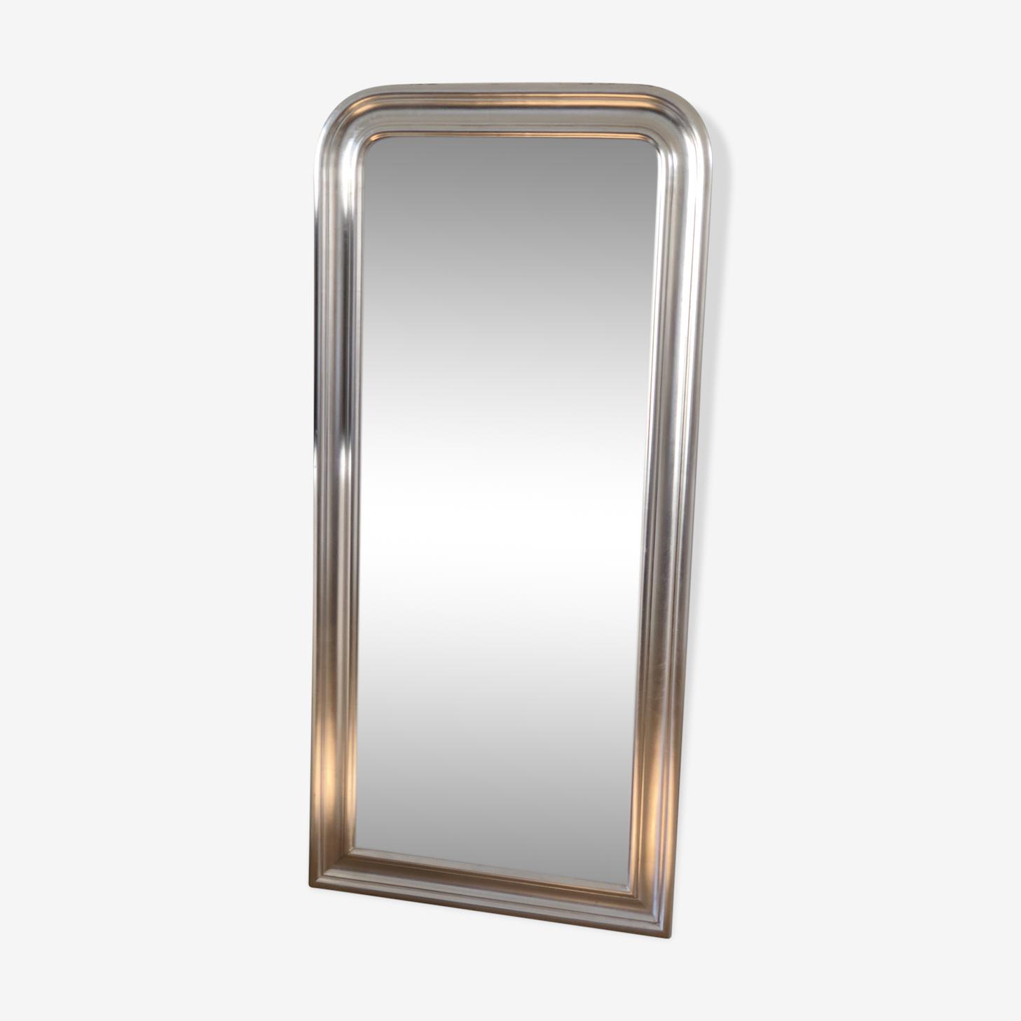 Miroir style Louis Philippe en bois argenté 70x150cm
