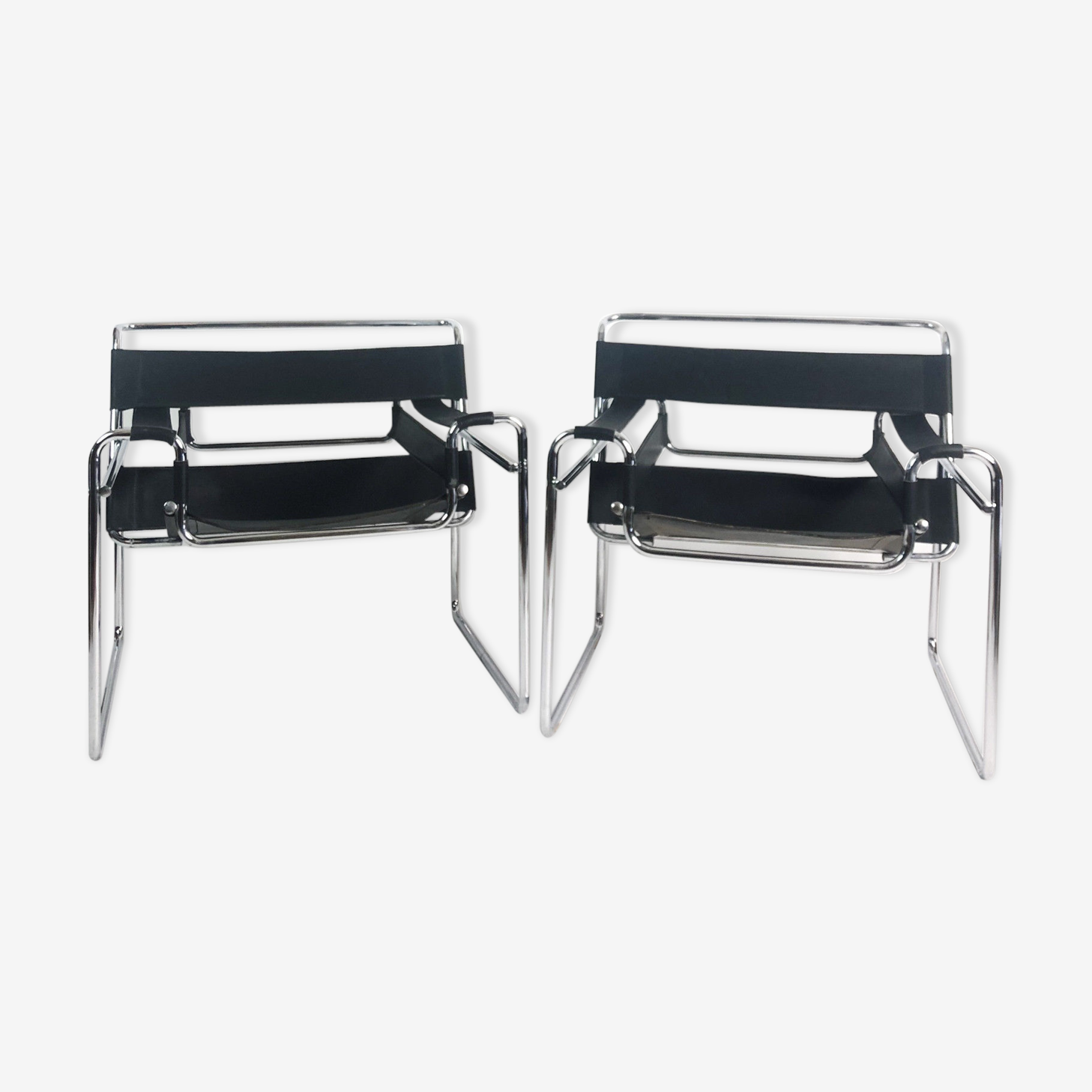 "Pair of ""vassily"" model armchairs Marcel Breuer 1980"