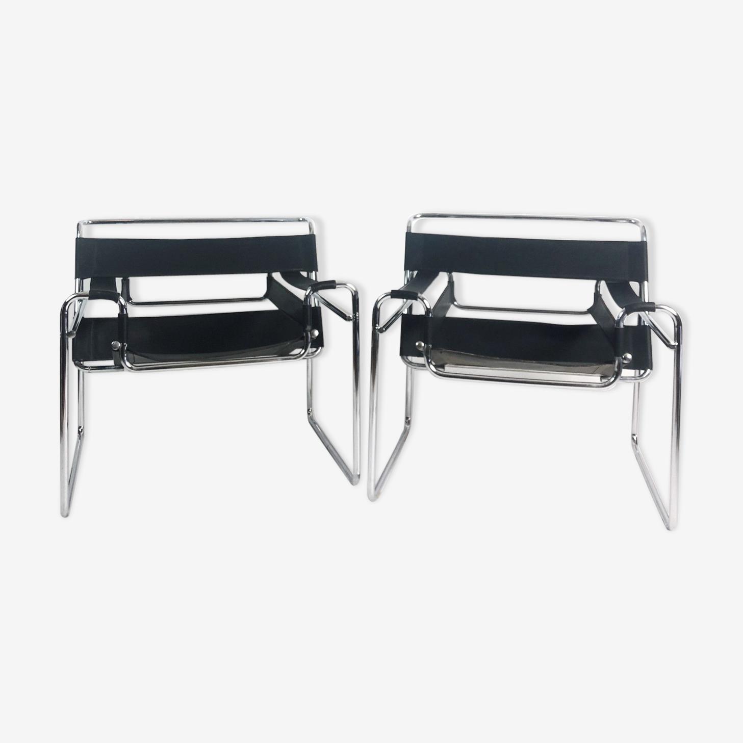 """Paire de fauteuils modèle """"vassily"""" Marcel Breuer années 1980"""
