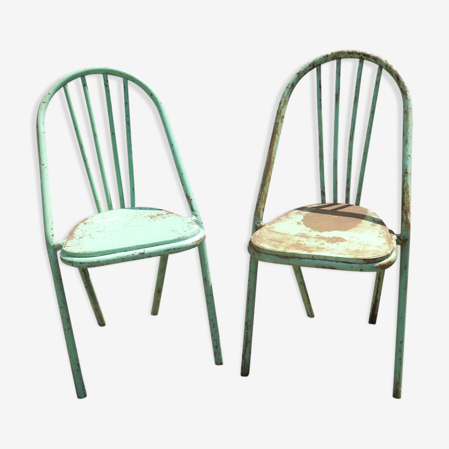 Paire de chaises en metal