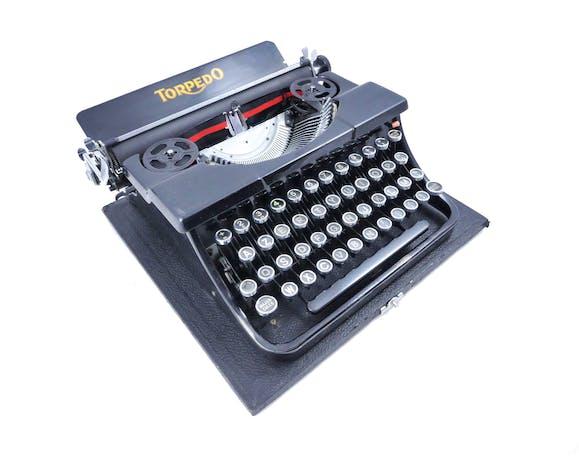Machine à écrire Torpedo portable noire brillante 1936