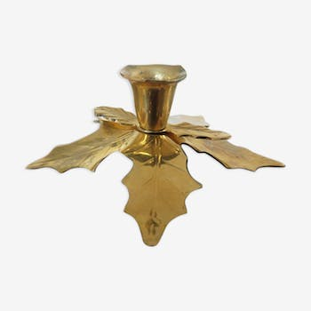 """""""Holly leaves"""" bougeoir in brass 60 70s"""