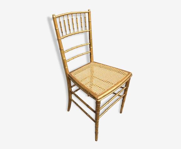 Chaise Napoléon Iii En Bambou Doré Bois Matériau Doré
