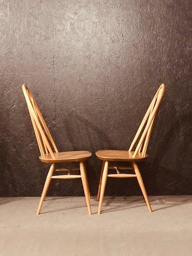 Lot de 6 chaises Ercol en orme dans les années 60