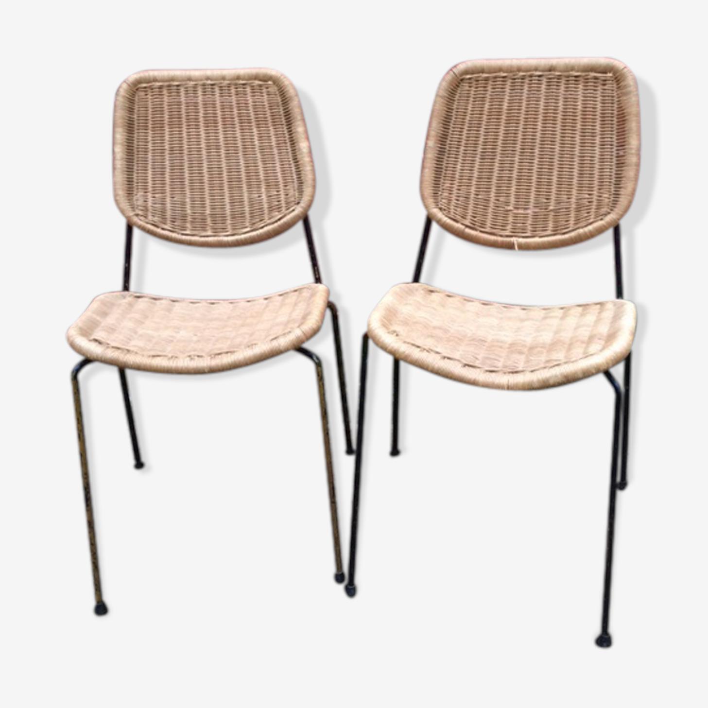 Paire de chaises en rotin et métal