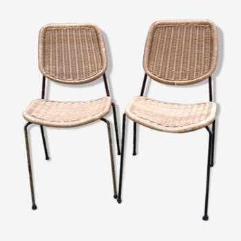 Chaise en rotin et osier vintage d 39 occasion for Chaise rotin et fer