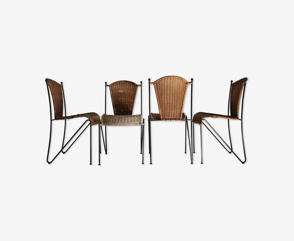 Set de 4 chaises vintage en métal et osier
