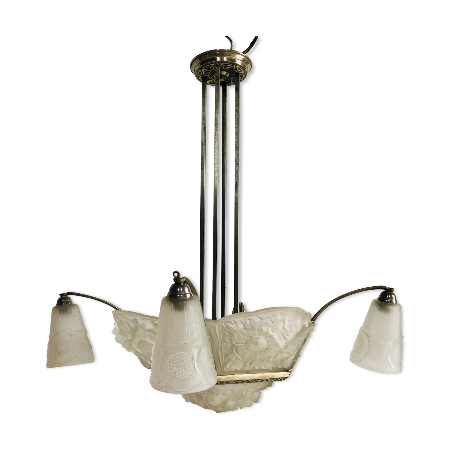 Chandelier art deco signed verdun france glass and crystal