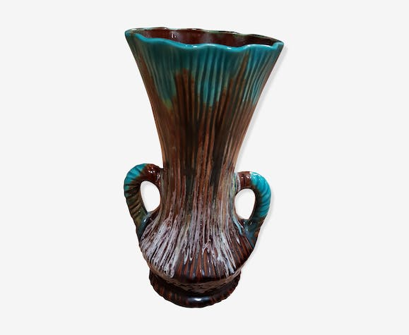 Blue vase with handles