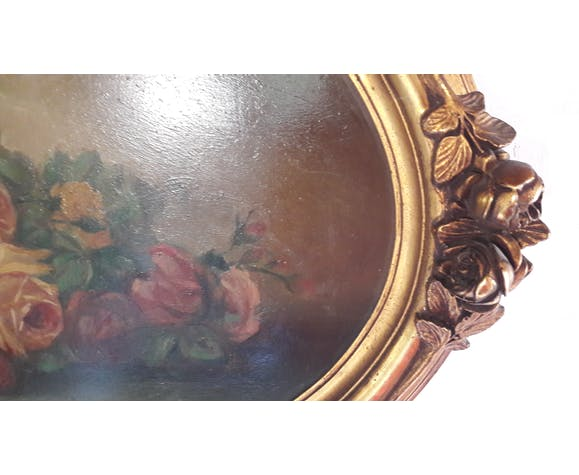 Painting old oil painting pattern Roses frame gilded wood