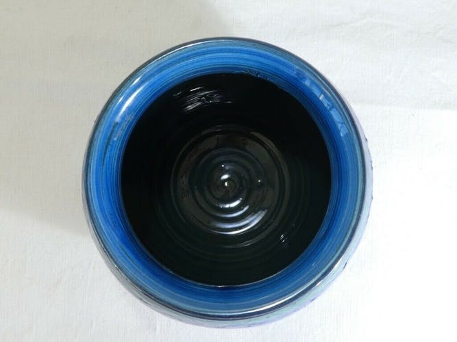 Vase boule Aldo Londi en céramique Bitossi Riminu blu