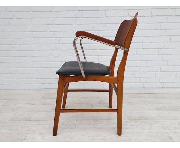 Danish office armchair, 60s, teak and beech wood