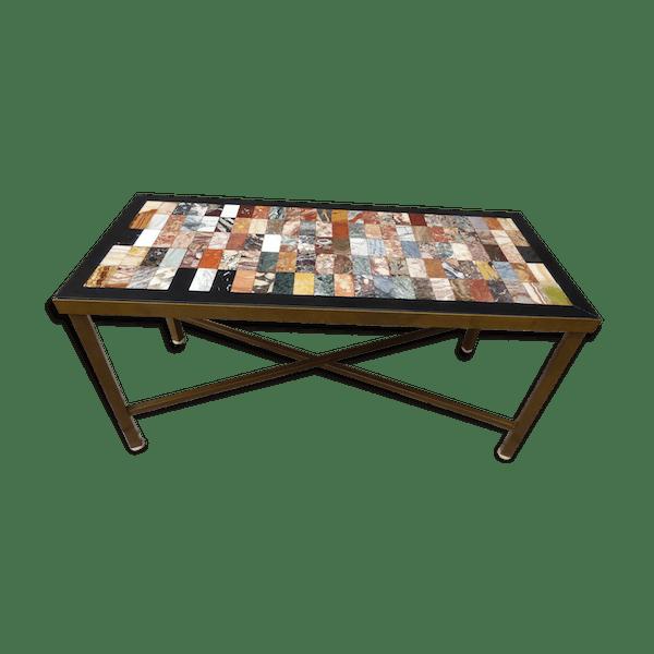 Table basse mosaique de marbre et de roches années 70 - marbre -  multicolore - bon état - vintage - NZeJBLU