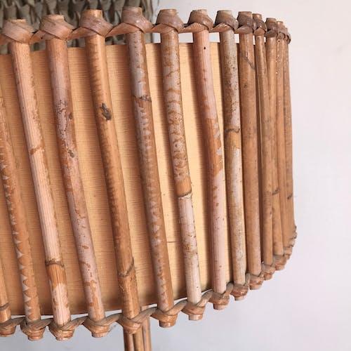 Lampadaire rotin vintage