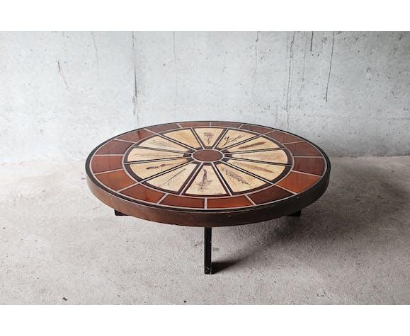 "Coffee table ""herbarium"" oval bu Roger Capron in ceramic circa 1965"