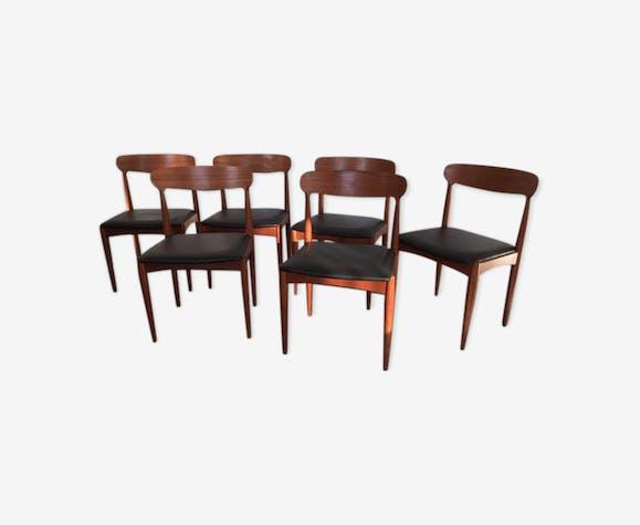 Set de 6 chaises scandinaves danoises teck de Johannes Andersen 60's