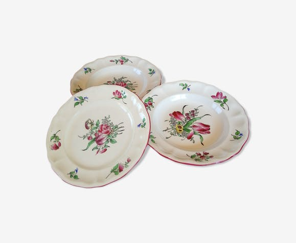 3 assiettes décoratives de luneville - céramique, porcelaine ...