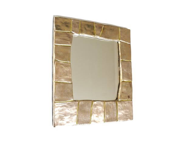 Miroir de François Lembo en céramique dorée, années 60, Vallauris 32x37cm