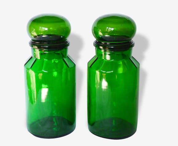 lot de 2 bocaux flacons pots maxwell verre vert 60 39 s bocal pice apothicaire vintage verre et. Black Bedroom Furniture Sets. Home Design Ideas