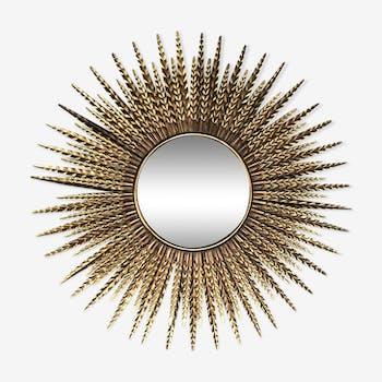 Miroir soleil épis avec miroir plat biseauté doré 87 cm