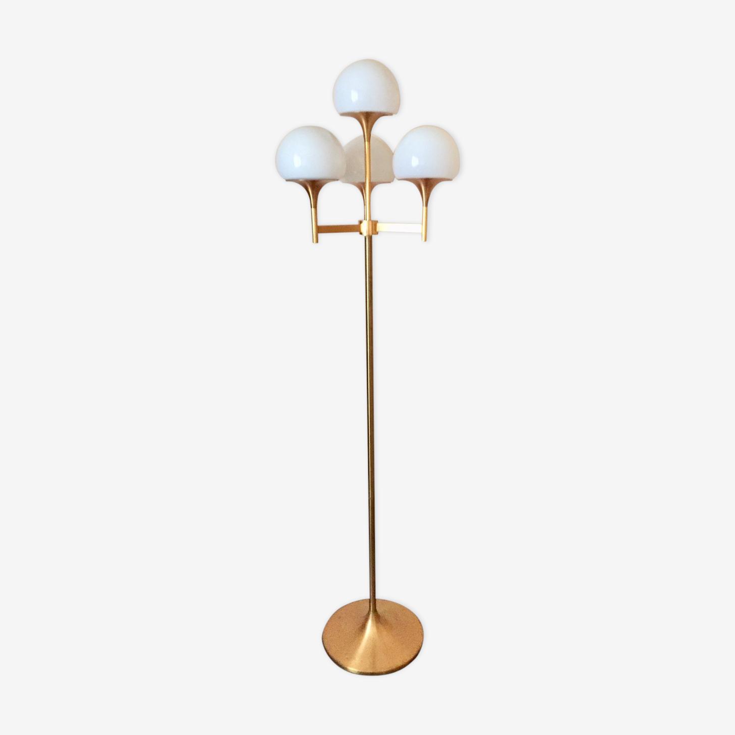 Lampadaire doré design Italien années 70