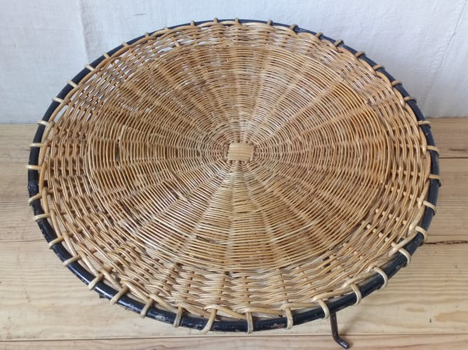 Coffee table in metal and rattan 1950