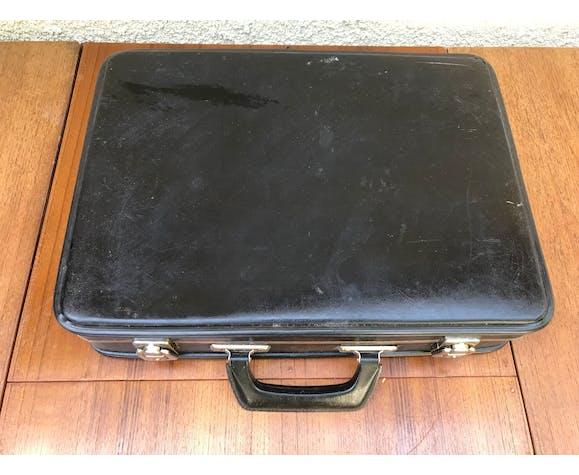 Valise malle de voyage noire avec anse bakélite vintage