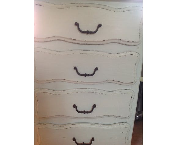 Vintage patinated white chiffonnier