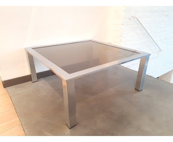 Table basse en verre fumé et chromé