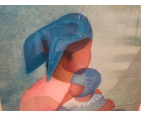 """Lithographie de Louis Toffoli """"maternité rose"""""""