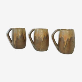 Lot of 3 glazed varnished from the 50s