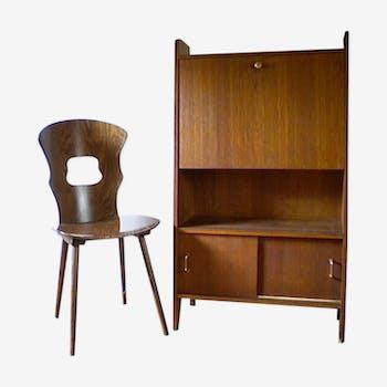 Secrétaire vintage forme compas et chaise Baumann Gentiane
