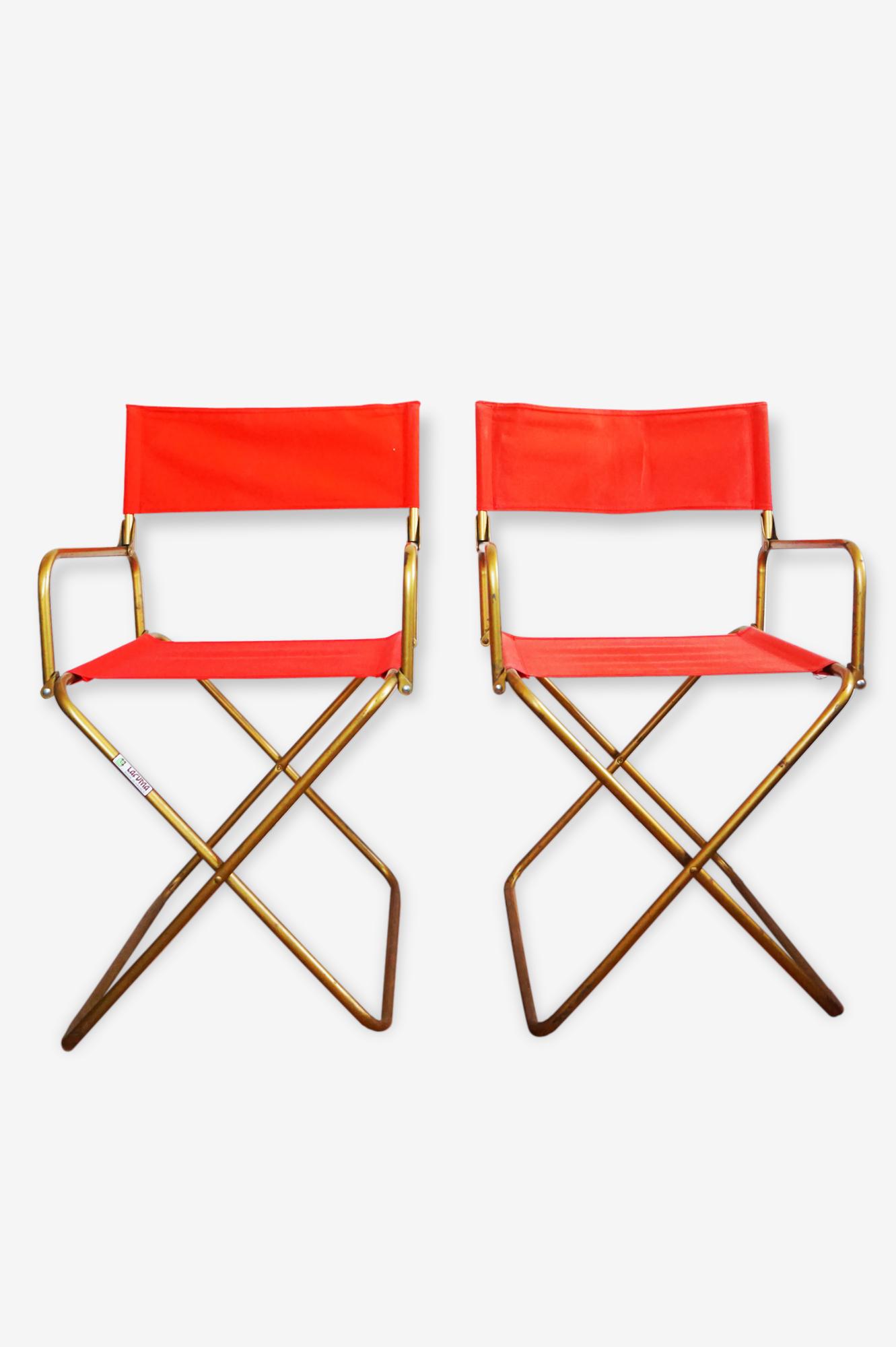 Deux Chaises Fauteuils Pliantes Lafuma Vintage Rouge Laiton
