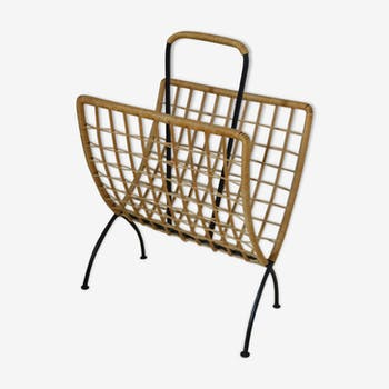 Magazines rack, wire and rattan 1960