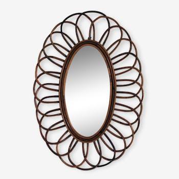 Miroir marguerite rotin