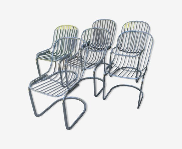 Set of 6 chairs vintage chrome 70's