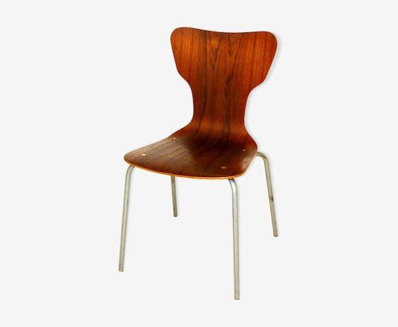 Chaise en teck et métal Suède 1960