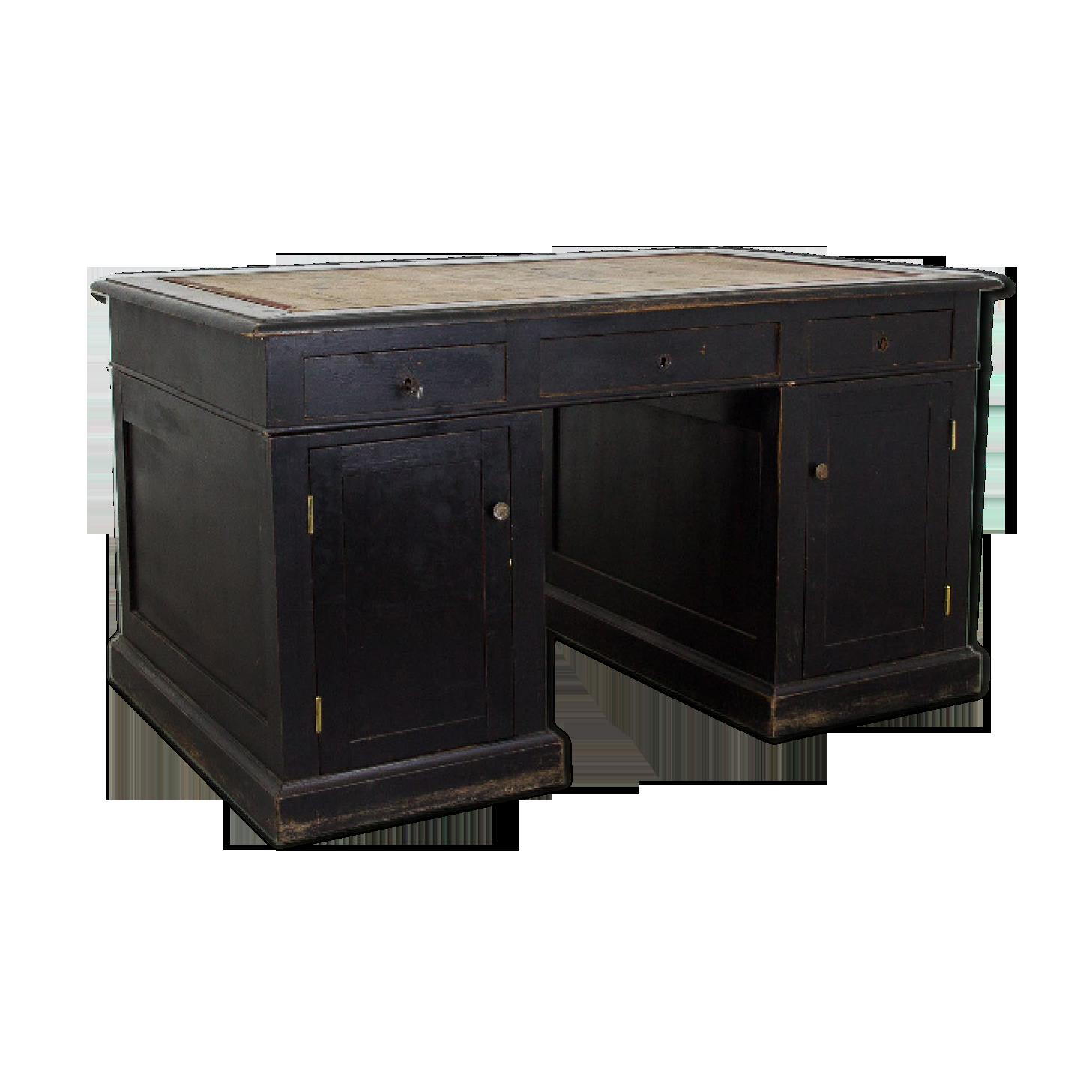 Bureau noir avec tiroirs fin xixe siècle bois matériau