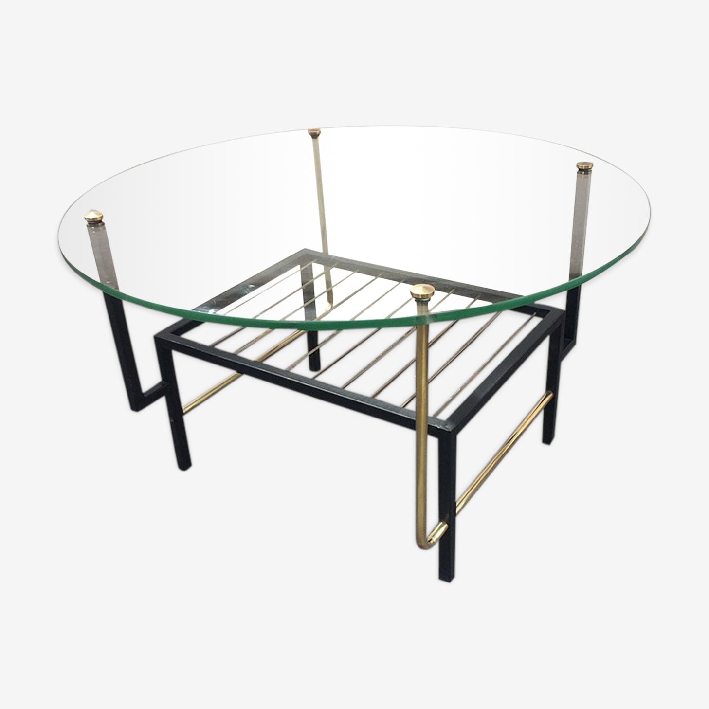 Table basse ronde plateau en verre pieds métal asymétriques 1960