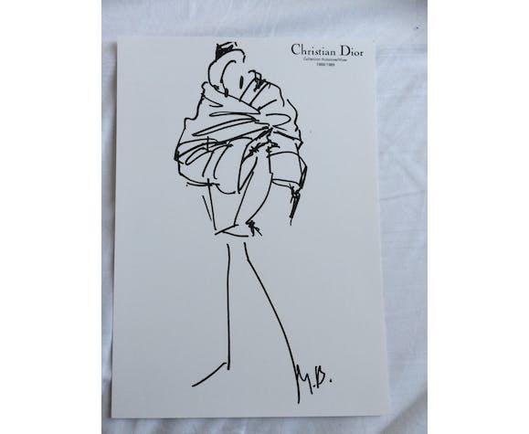 Illustration de mode de presse, collection automne hiver 1988/1989, Christian Dior