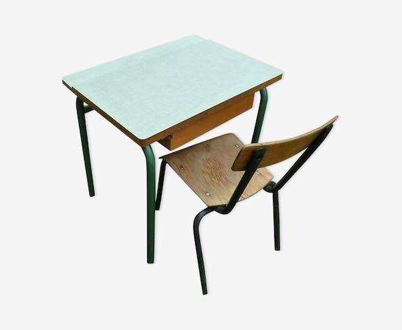 Table d'écolier en bois métal et formica + chaise vintage 70s