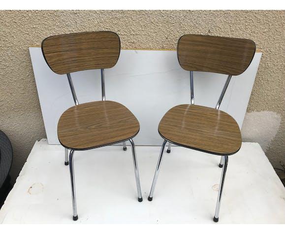 Paire de chaises anciennes en métal chromé et formica marron