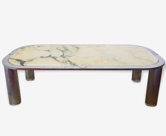 Table Basse Marbre Acier Design Italien 1960 Space Age Vintage