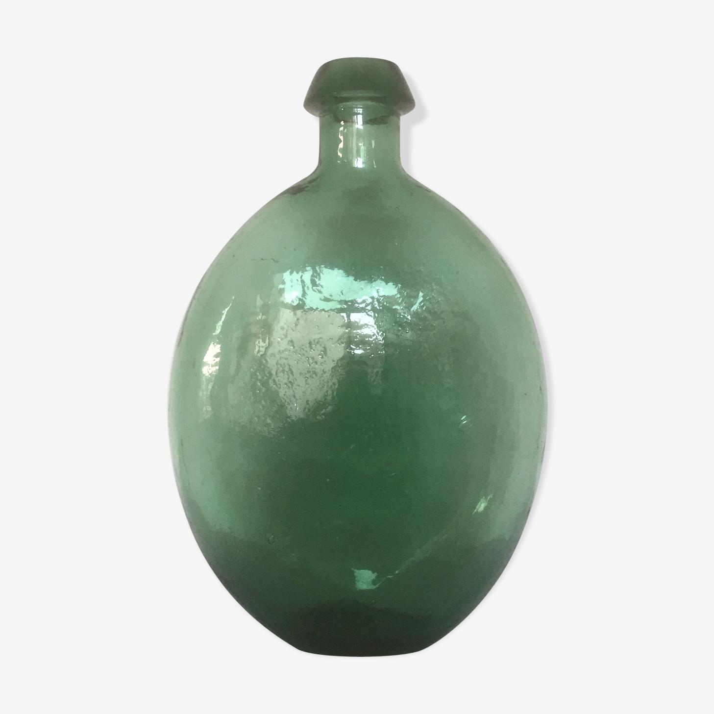 Bouteille plate en verre vert émeraude