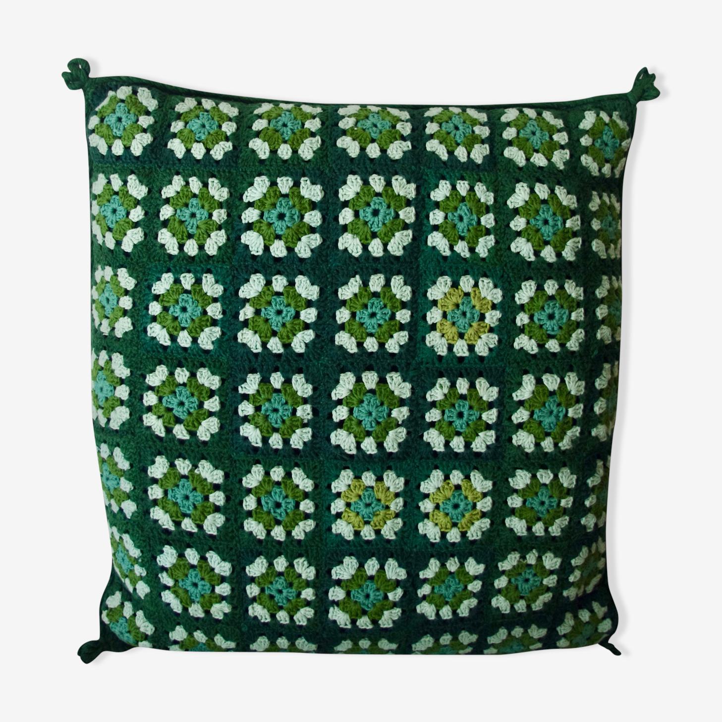 Green vintage crochet cushion